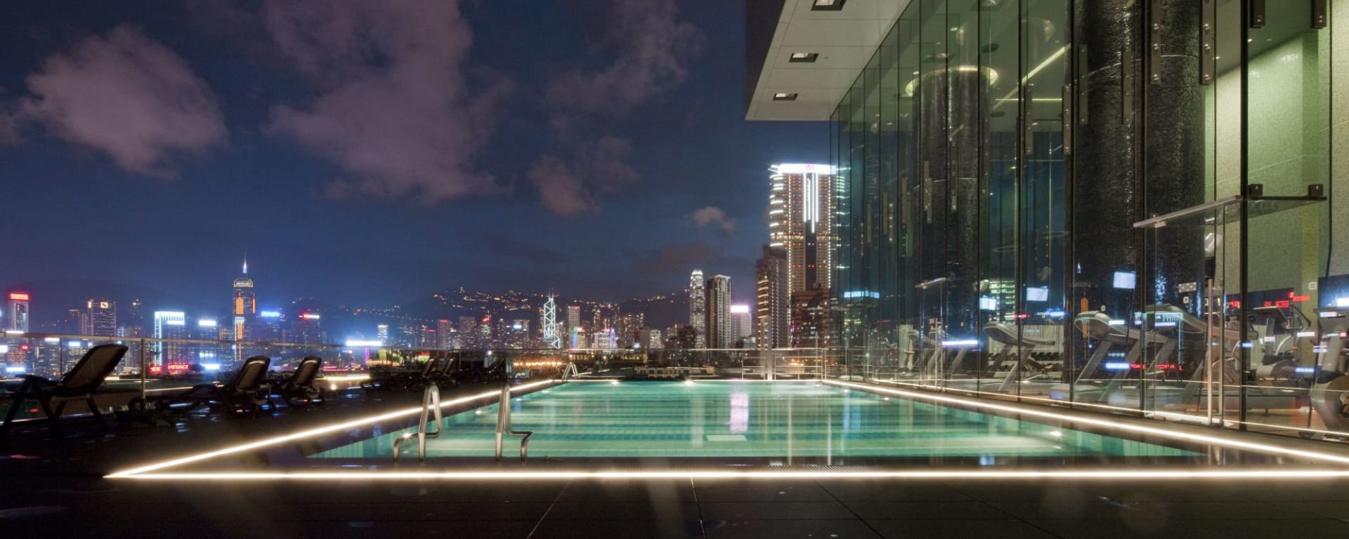 Hotel ICON in Hong Kong: Outdoor Swimming Pool | by night
