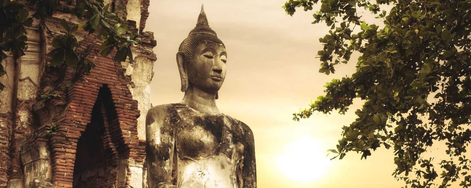 Streifzug durch Bangkoks Umgebung: Ayutthaya: Buddha at Wat Mahathat ruins