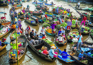 Cai Rang Floating Market, is highly recommended by TripAdvisor, in Cantho, Vietnam