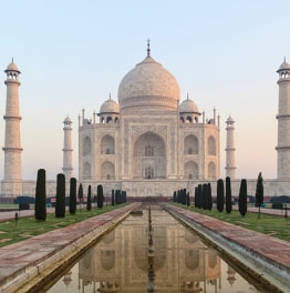 See the iconic white Taj Mahal