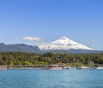Lake in Pucon and snow covered Volcano Villarica