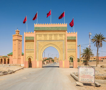 View at the Western city gate of Rissani - Morocco.