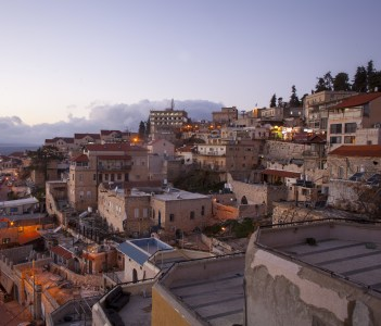 The town of Safed in northern Israel in the evening
