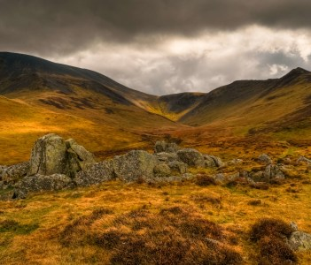 Boulders and Skiddaw Fell, Cumbria