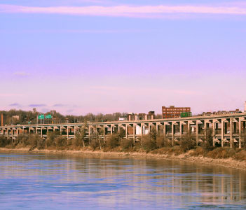 Double Decker bridge along Missouri River in Saint Jopseph
