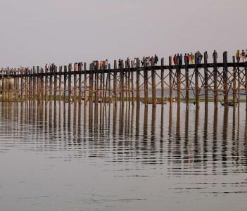 U Bein Bridge at sunrise in Mandalay Myanmar