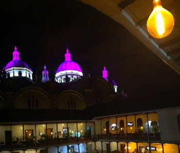 The domes of the new cathedral in the city of Cuenca photo taken from the monastery of San Luis. April 2019.