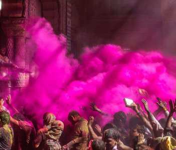 Holi celebration in the Hindu Banke Bihare temple in Mathura