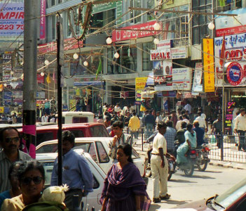 Busy Brigade Road in Bangalore