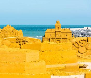 Sand Sculpture Festival at Ostend Beach Belgium.