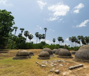 Kathurogoda Ancient Vihara Jaffna district Sri Lanka: a cluster of several little stone dagobas in a mysterious ancient buddhist site in the middle of the hindu - tamil region.