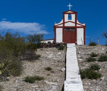 Baja California Sur Desert Church on blue sky background in Mexicali, Mexico