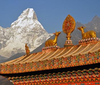 Buddhist Tengboche Monastery over Ama Dablam (6812 m) mountain in Himalaya Mountains, Nepal