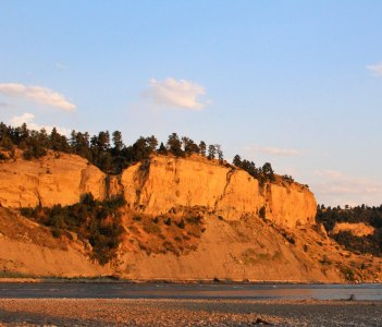 Yellowstone River at Sunset in Billings Montana, USA during Summer