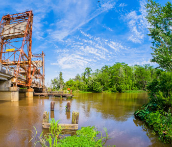 Vintage bridge over the Pearl river in Louisiana on Highway Ninety