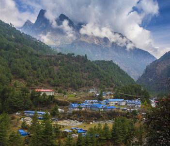 Phakding village in the Khumbu Region of Nepal