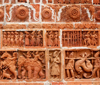 Terracotta Design in wall of popular Kantajew Temple_Dinajpur of 18 Century in Bangladesh