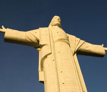 A closeup of Cochabamba's Christ in Bolivia