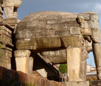 Stone Elephant on Staircase to Nyatapola Temple