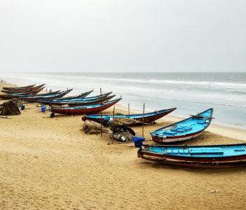 Boats on seashore, Gopalpur, Orissa, India