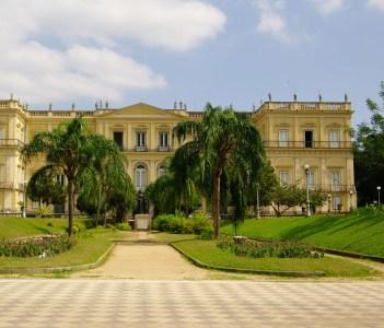 The National Museum facade in the middle of the park Quinta da Boa Vista.