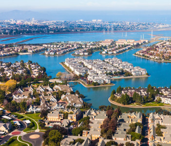 Aerial view of Redwood Shores in USA
