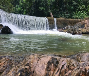 Amazing view of natural fresh water dam in Sungai Salan, Jerantut, Pahang, Malaysia