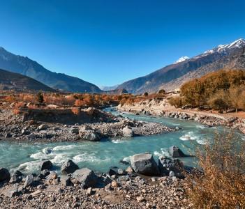Kali Gandaki River near Jomsom town in Nepal