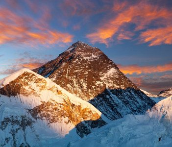 Evening colored view of Mount Everest from Kala Patthar, Khumbu valley, Nepal