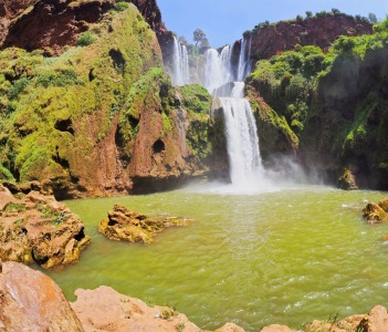 Ouzoud Waterfalls located in the Grand Atlas village of Tanaghmeilt in the Azilal province in Morocco