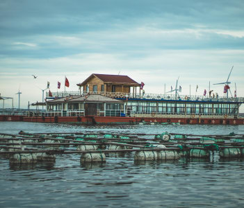 Seashell farm and House on water in China Rongcheng