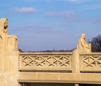 The beautiful statues on the bridge over the Fox River in Aurora Illinois USA