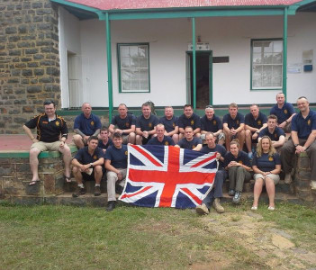 With the 4th Battalion, Duke of Lancaster's, at Isandlwana Museum, during the last analysis. Lt Col Lighten on the left.