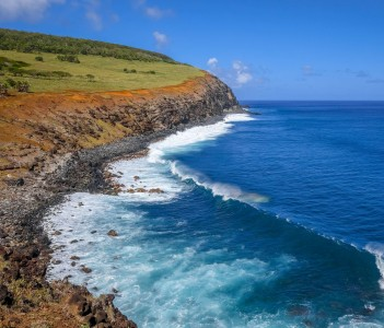 Cliffs on Rano Kau Volcano in Easter Island Chile