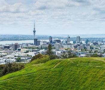 Auckland skyline looking from the top of Mount Eden
