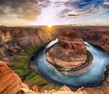 Sunset moment at Horseshoe bend Grand Canyon National Park