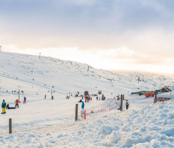 Vodafone Ski Resort at Serra da Estrelal. Serra da Estrela is the highest mountain range in Portugal Continental.