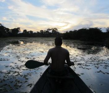 Paddling through the Amazon Lake