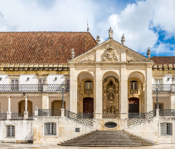 Portal at the courtyard of Coimbra University in Portugal