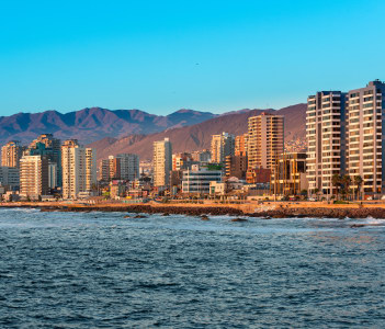 Panoramic view of the coastline of Antofagasta, know as the Pearl of the North, Chile