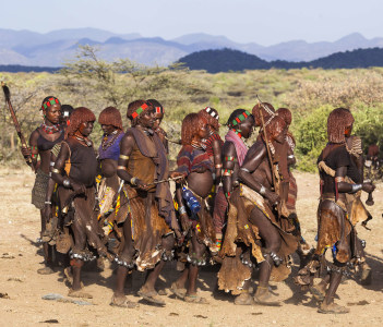 Unidentified group of Hamar women dance at bull jumping ceremony. Jumping of the bull is a rite of passage into manhood in some Omo Valley tribes.