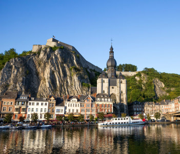 View on the touristic town of Dinant and it's citadel in the Ardennes Belgium.
