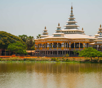The famous monastery is situated in a beautiful landscape in the surrounding area of Mawlamyine Hha-an Myanmar Burma