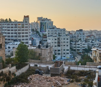 panorama of the city of Ramallah at sunset