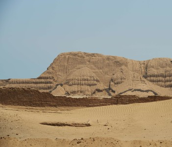 Temple of the Sun (Huaca del Sol). Large historic adobe temple from the Moche culture located close to Trujillo in Peru