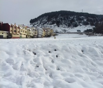Azrou city covered by snow