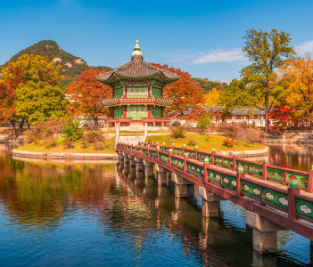 Autumn in Gyeongbokgung Palace in Seoul Korea