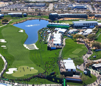 Aerial view of the Waste Management Phoenix Open in Scottsdale Arizona at the Tournament of Players Club Scottsdale (TPC)