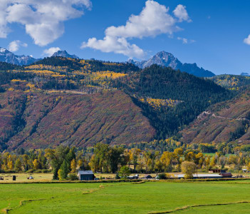 Panoramic view of the San Juan Mountains near Ridgway Colorado.