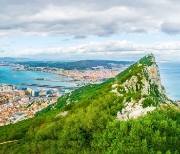 Aerial view of Gibraltar, Algeciras Bay and La Linea De La Concepcion, Algeciras, Spain